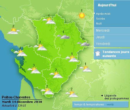 Météo France, carte Poitou-Charentes du 14 décembre 2010 à 13h15