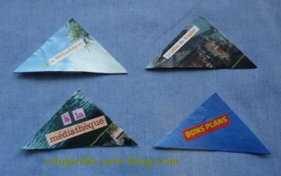 Marque pages triangulaires pour noël 2010