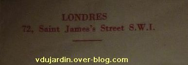 Menu ancien offert par Pamina, 4, adresse à Londres