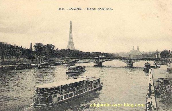 Paris, le Pont de l'Alma, carte postale ancienne, 1, vue en amont