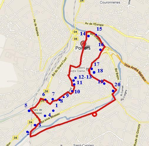 Poitiers, itinéraire de la sortie ville nature du 21 décembre 2010 sur plan Mappy