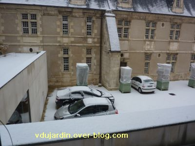 Poitiers, averse de neige du 14 décembre 2010, 1, de mon bureau à 13h45