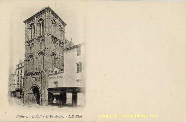 Poitiers, église Saint-Porchaire, carte postale ancienne, 2, carte-correspondance