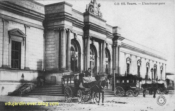 Tours, l'ancien embarcadère ferrovière, carte postale ancienne