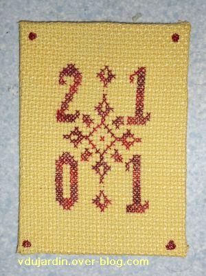 ATC brodée pour les voeux 2011, envoyée à Brigitte