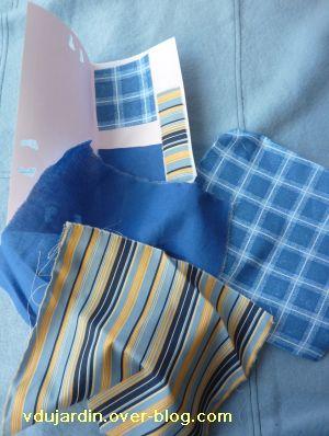 Tissus bleus et carte ouverte pour le Bai jia bei de Petite fée Nougat