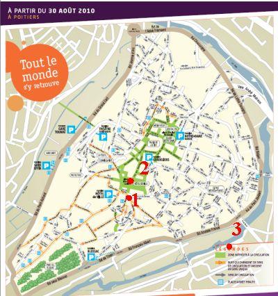 Localisation des arbres pris en photographie sur le plan de coeur d'agglo de Poitiers