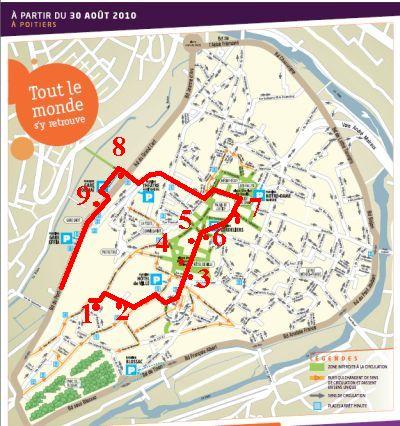 Itinéraire des lampadaires sur le plan de Poitiers coeur d'agglomération