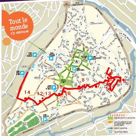 Itinéraire des trottoirs à Poitiers