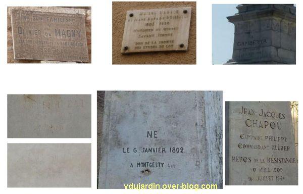 Cahors, dates sur des socles et des plaques