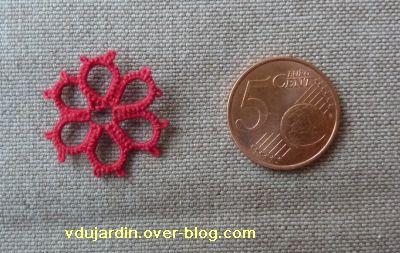 Mini fleur en frivolité rouge