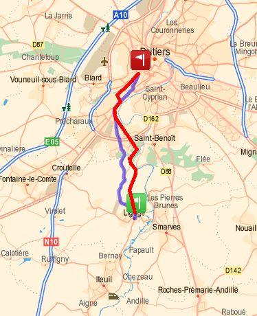 Trajet de Ligugé à Poitiers