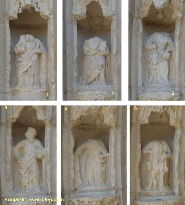 Poitiers, portail de Sainte-Radegonde, apôtres 1 à 6
