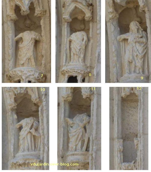 Poitiers, portail de Sainte-Radegonde, apôtres 7 à 12