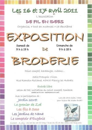 Affiche de l'expositoion des Aubrays, 16 et 17 avril 2011