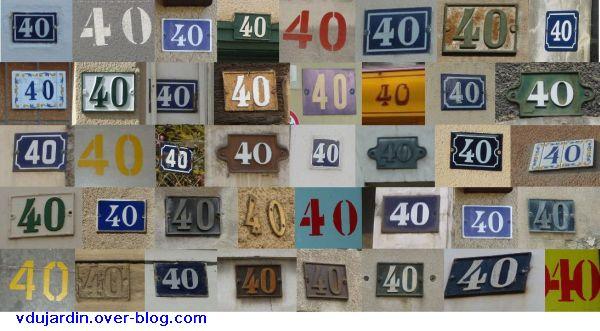 Vie de brodeuse (VDB) 40, 40 plaques de numéros de rue et places de parking
