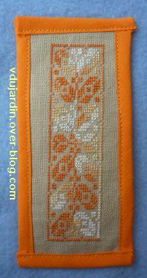 Marque page brodé orange pour Schlabaya
