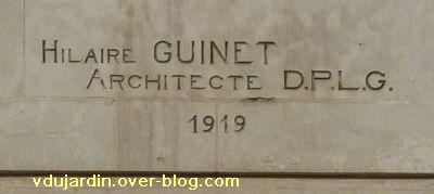 Poitiers, complément de la grande poste, 1, signature de l'architecte Guinet