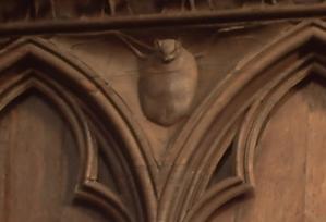 Quatrième écoinçon, chauve-souris, stalles nord de la cathédrale de Poitiers