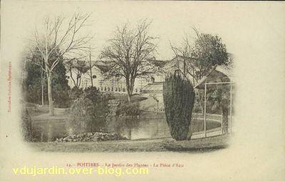 Poitiers, le jardin des plantes, carte postale ancienne, 5, le bassin et la serre