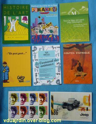 Echange d'été de Miss Fil, 7, des cartes à publicité avec des dessins