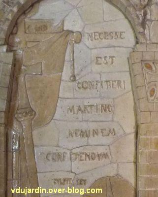 Tours, dans la basilique, la messe de St Martin par Alaphilippe, 10, inscription sur l'autel