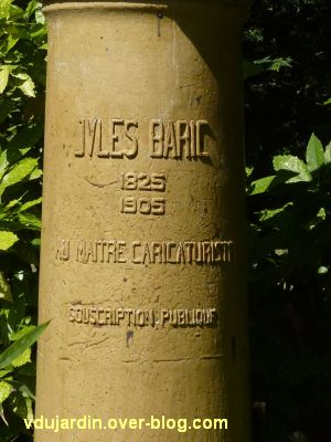 Tours, parc Mirabeau, la colonne à Baric, 2, la dédicace