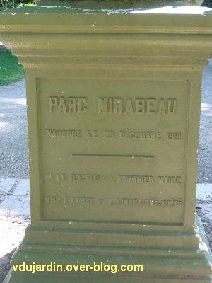 Tours, parc Mirabeau, la fontaine inaugurale, 2, la dédicace