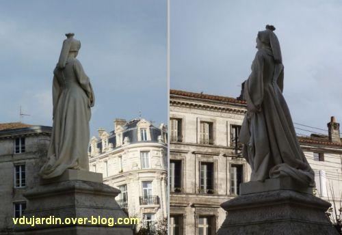 Angoulême, statue de Marguerite de Navarre par Badiou de la Tronchère, 4, deux vues de trois quarts