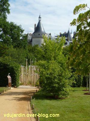 Chaumont-sur-Loire, festival 2011, le jardin 4bis, 1, des piquets avec des bulles, vu de loin