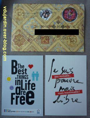 Les envois de mi septembre 2011, 4, carte maison de Véro bis, l'enveloppe et des cartes à pub