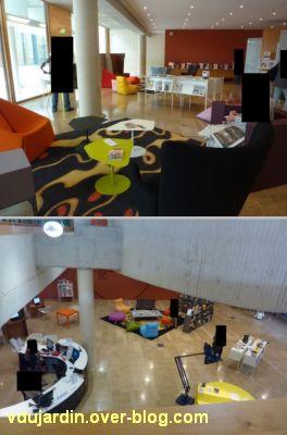 Le nouveau hall ou forum de la médiathèque de Poitiers