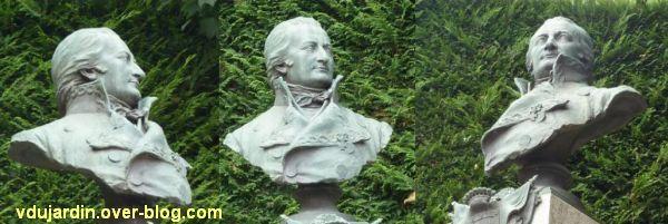 Niort, le monument à Liniers par Poisson, 5, le buste en bronze
