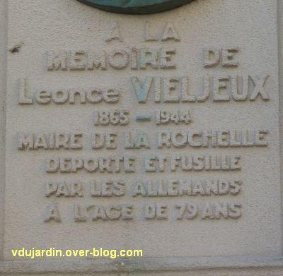Le mémorial à Vieljeux par Prud'homme à La Rochelle, 2, l'inscription