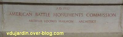 Tours, le mémorial américain, 2, la signature Arthur Loomis Harmon et la date