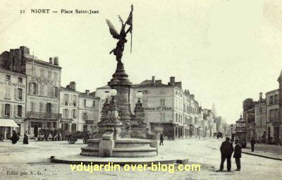 Niort, place Saint-Jean, le monument Spes détruit