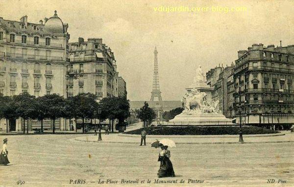 Paris, monument à Pasteur par Falguière, Carte postale ancienne, 5, vu de trois quarts dos