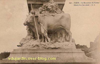 Paris, monument à Pasteur par Falguière, Carte postale ancienne, 7, les boeufs et le bouvier
