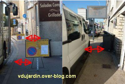 Poitiers, ville inaccessible au handicap, 08, panneaux et poubelles