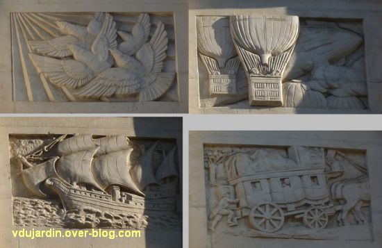 La poste centrale d'Angers, 4, les reliefs avec la poste ancienne