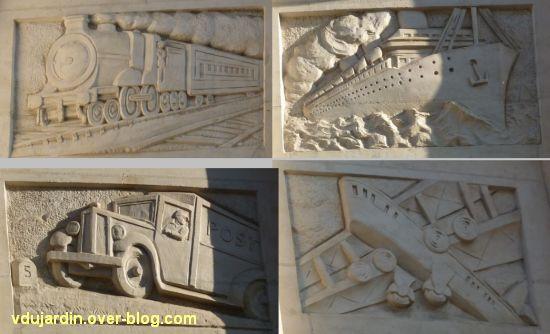 La poste centrale d'Angers, 5, les reliefs avec la poste moderne