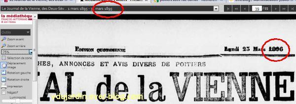 Saisie d'écran du journal de la Vienne, mars 1895 demandé, mars 1896 obtenu