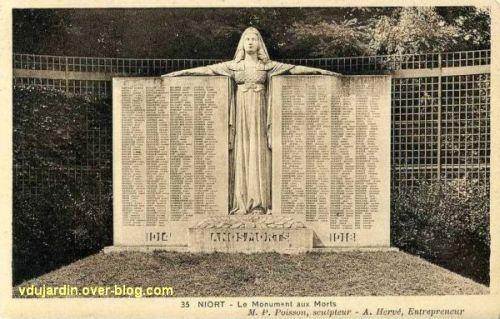 Niort, le monument aux morts de 1914-1918 par Poisson, 2, vue ancienne rapprochée