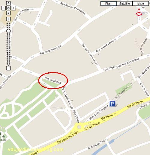 Poitiers, saisie d'écran d'info travaux dans le secteur de Blossac