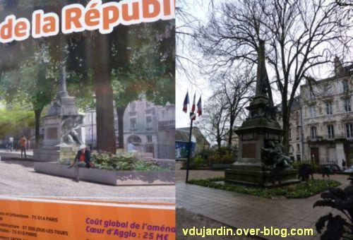 Poitiers, square de la République, 4, comparaison du montage de Lion et du monument il y a deux ans