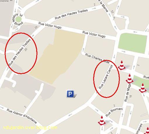Poitiers, plan avec rue des Hautes Treilles et rue Lazare Carnot