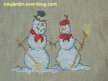 Deux bonhommes de neige brodés