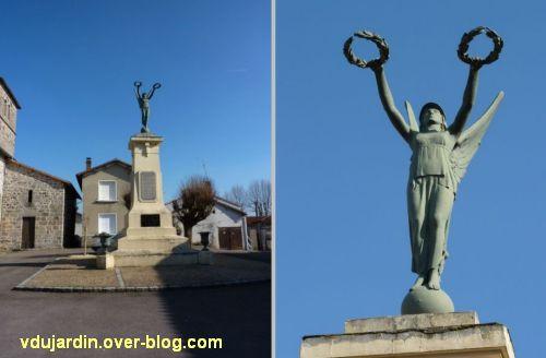 Le monument aux morts de Lessac (Charente), 1, vu de face, de loin et de près