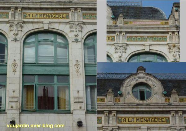 Niort, magasin à la Ménagère, 4, le décor de la façade antérieure, montage de photographies