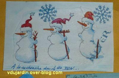 Opération bonhomme de neige 2011, deuxième envoi de Véro bis, 2, détail des bonhommes dessinés